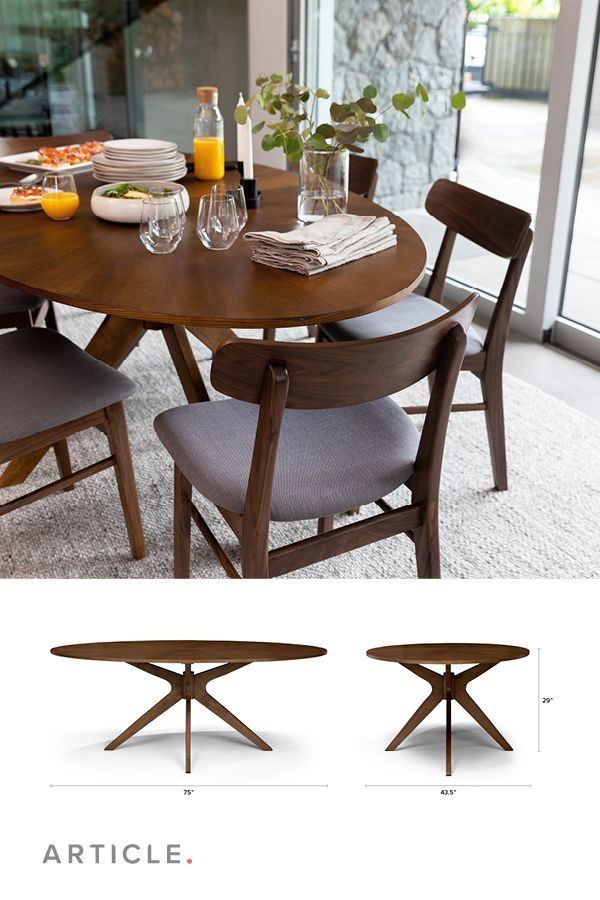 Conan Oval Dining Table Oval Table Dining Midcentury Modern