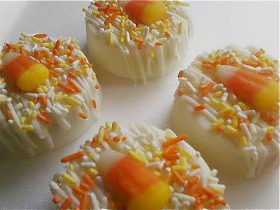chocolate covered candy corn oreos -- no bake halloween dessert ideas