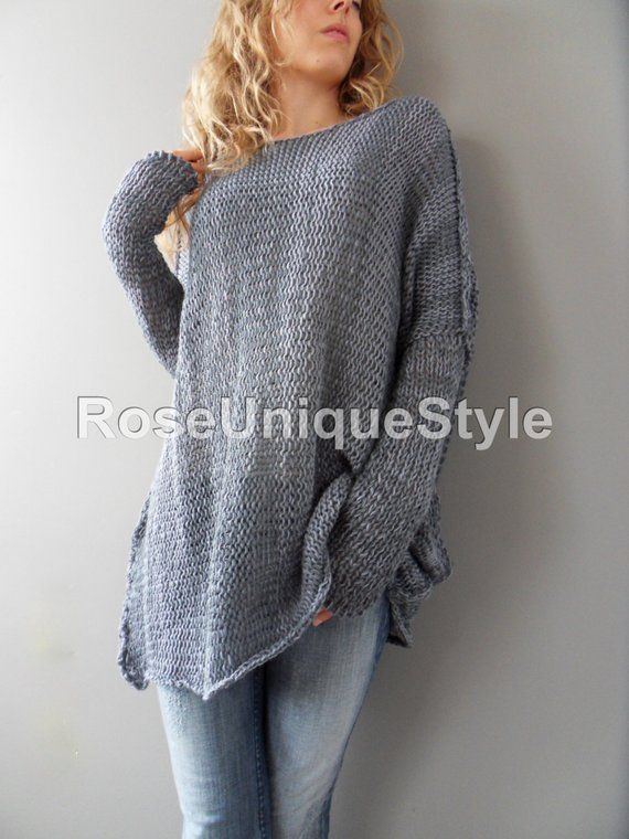 a4eefdfdb Oversized Bulky Slouchy woman knit sweater. Cotton blend