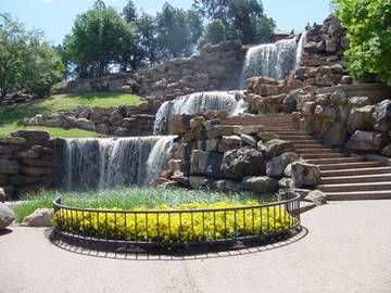 The original falls in Wichita Falls, Texas were washed away in a flood in the 1800's. In 1987 new falls were constructed upstream. The present 54-foot man-made waterfall is a multi-level cascade on the south bank of the Wichita River. The Falls can be seen by southbound motorists on I-44 as they cross the bridge over the river.