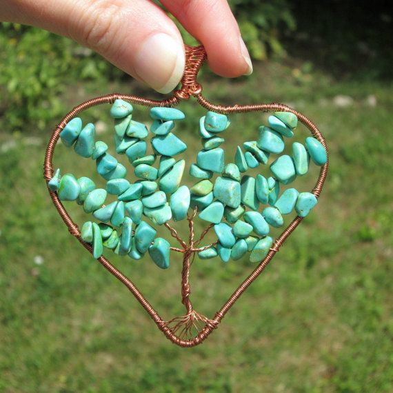 turquoise heart tree of life pendant fashion style necklace tree of life gift for her boho hippie wireby FloralFantasyDreams