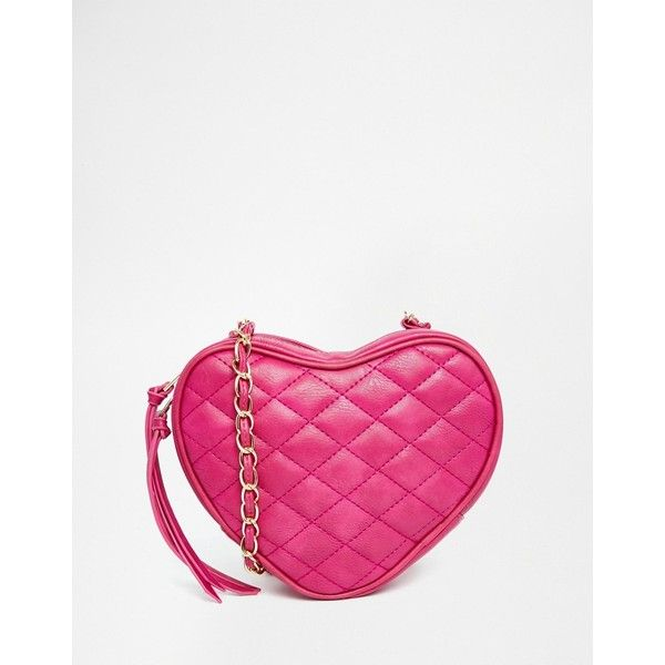 Yoki Fashion Quilted Heart Cross Body Bag (€28) ❤ liked on Polyvore featuring bags, handbags, shoulder bags, pink, quilted crossbody, pink handbags, white purse, pink purse and white crossbody handbags