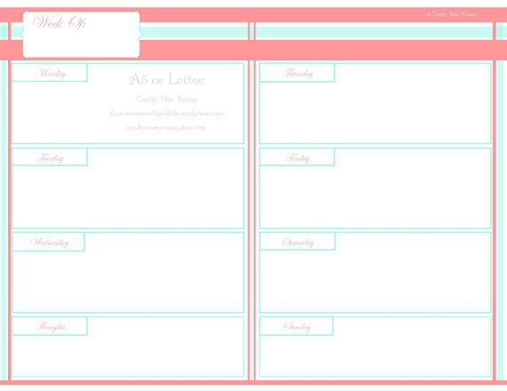 INSTANT DOWNLOAD Chic Printable Weekly Coral & Mint // CraftyMrsYoung on Etsy