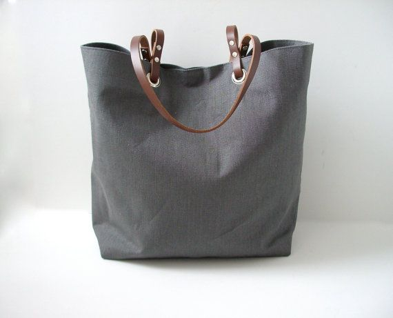 Gray Tote Bag, Linen Tote Bag with Leather Handles, Beach Bag, Market Tote, Women, Linen Purse, Simple, Casual Bag
