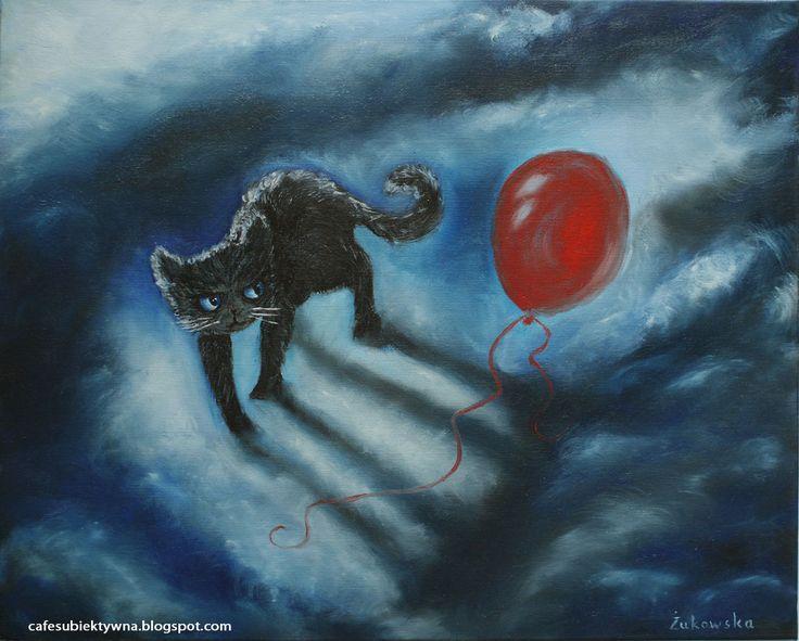 Cat. Oil on canvas.. Żukowska