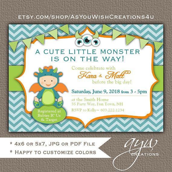 This printable monster baby shower invitation for boys features an adorable monster in teal blue, green and orange on a chevron pattern background. This boy baby shower invitation is perfect for any mom or mommy-to-be who adores little monsters and is sure to garner compliments