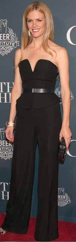 Who made  Brooklyn Decker's black strapless jumpsuit?