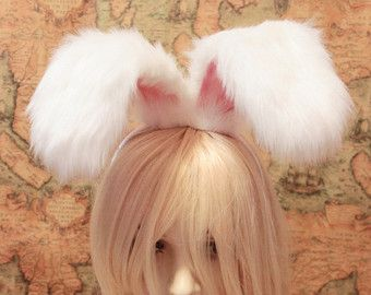 20 cm BUNNY Rabbit Ears Headband ,wire inside twist-able,White fur & pink inside bendable Easter Cosplay Costumes for girls n adult