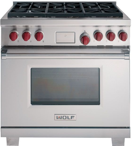 "Wolf 36"" GR364C (Not pictured: charbroiler cooktop with four burners)"