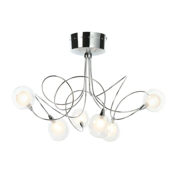 Freefall loop arm chrome effect 6 lamp semi flush ceiling light