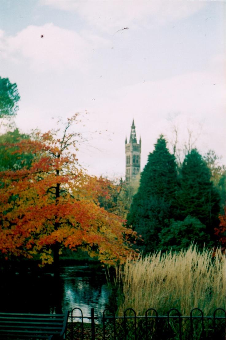 Glasgow University through trees.