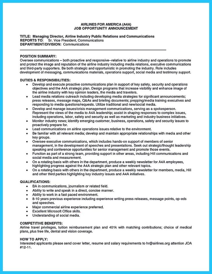 awesome Learning to Write a Great Aviation Resume, Check more at - media relation executive resume