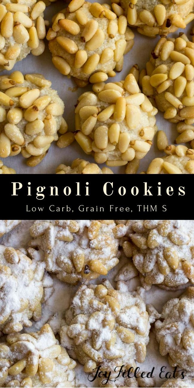 Pignoli Cookies - Low Carb, Grain/Gluten/Sugar Free, THM S. Pignoli Cookies are a slightly sweet, chewy cookie made from almond paste and covered with pine nuts. via @joyfilledeats