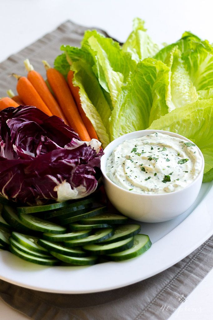 Creamy Herb Dip — cream-cheese- and sour-cream-based dip flavored with scallions, parsley, and dill, via @40aprons