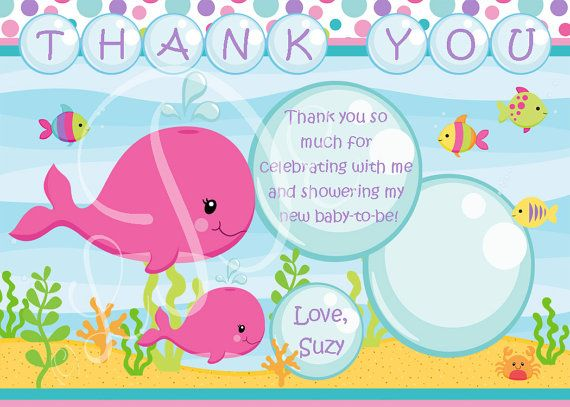 girls under the sea baby shower thank you card
