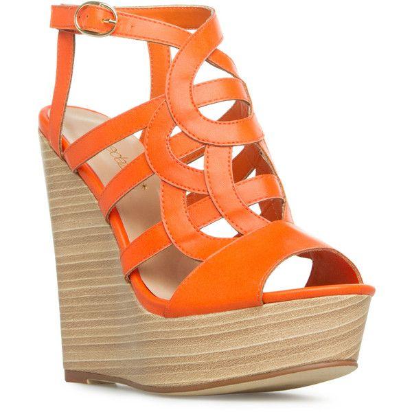 ShoeDazzle Wedge Paisley Womens Orange ❤ liked on Polyvore featuring shoes, sandals, orange, wedges, wooden platform sandals, wood platform sandals, cut out shoes, cut out sandals and wedge heel sandals