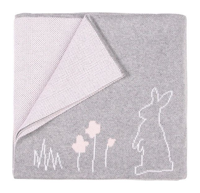 This soft and warm 100% Cotton Bunny blanket is the perfect addition to any nursery. So cute and one of our best sellers!  With a reversible yellow/grey marl or pink/grey side, you get the best of both worlds.