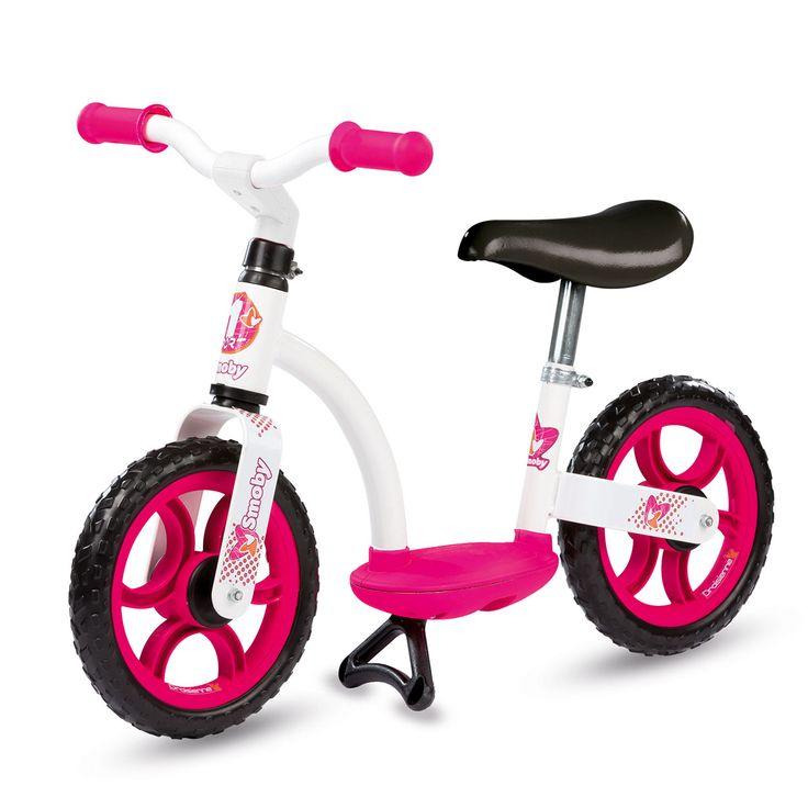 Metalen Smoby loopfiets met een comfortabel en verstelbaar zadel. Met deze loopfiets leer je kind stapsgewijs haar evenwicht te bewaren. De fiets is voorzien van een fietsenstandaard. Afmeting: 77 x 48,5 x 40 cm - Smoby Roze Loopfiets