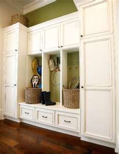 bench seating with pantry on either side for kitchen