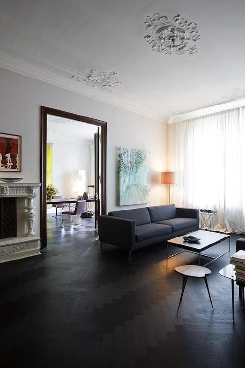 Beautiful Parquet Floor. I love parquet floors painted black!