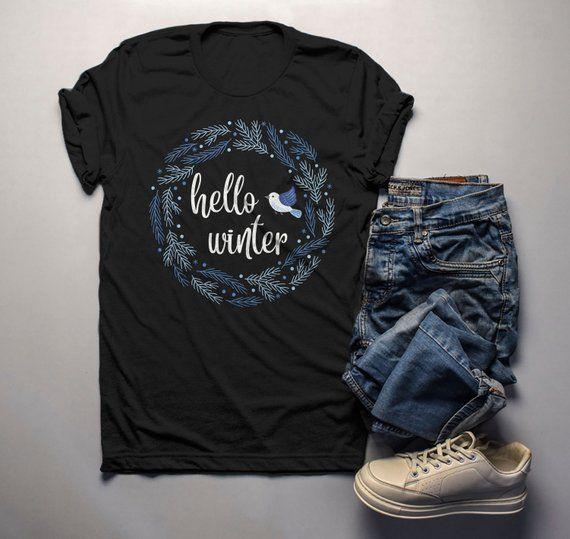 1a7be2c1 Men's Winter Wreath Shirt Hello Winter Shirts Beautiful Wreath T Shirt  Bluebird Shirt Cute Winter Outfit