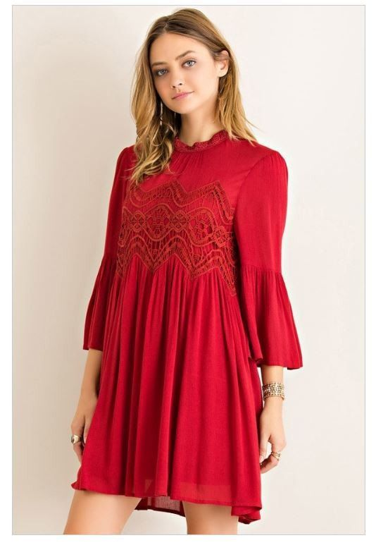 Time To Have Fun Red Lace Swing Dress