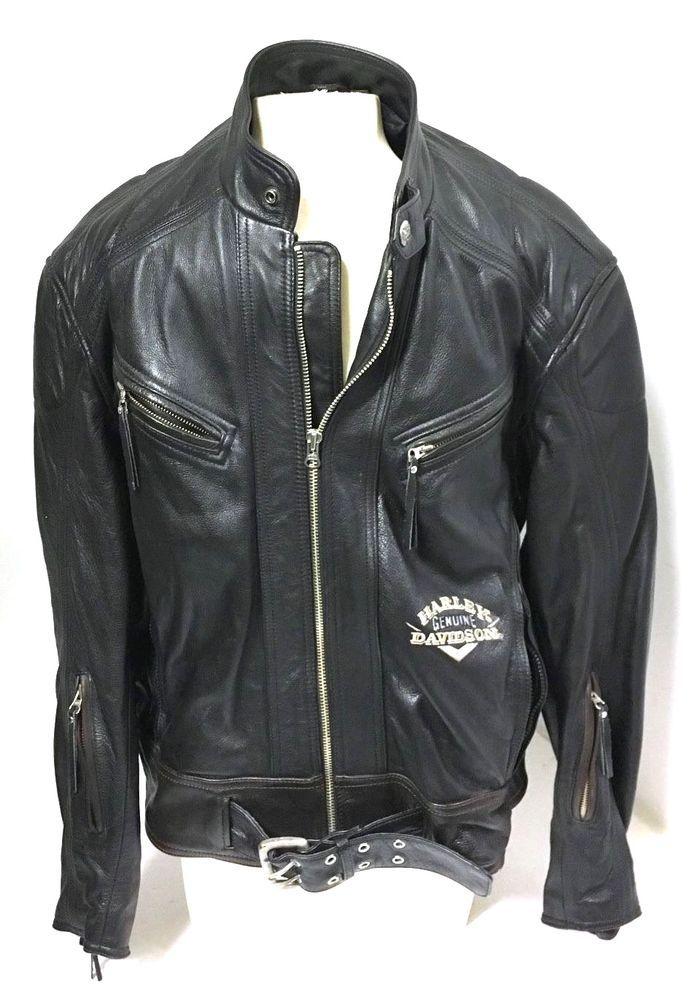 Genuine Harley Davidson Leather Jacket Black with Brown trim Dyna Victory Sz L