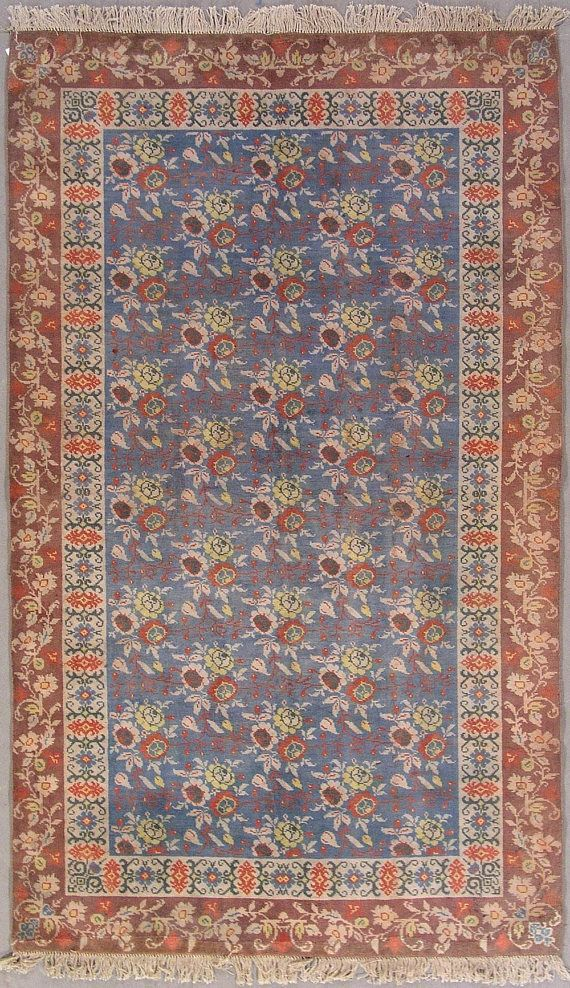 Antique 5x8 Cotton Agra 1920 S Hand Knotted Area Rug Blue Rust With Floral Design 4 8 X 7 9 Traditional Indian Carp Rugs Antique Wallpaper Rugs On Carpet