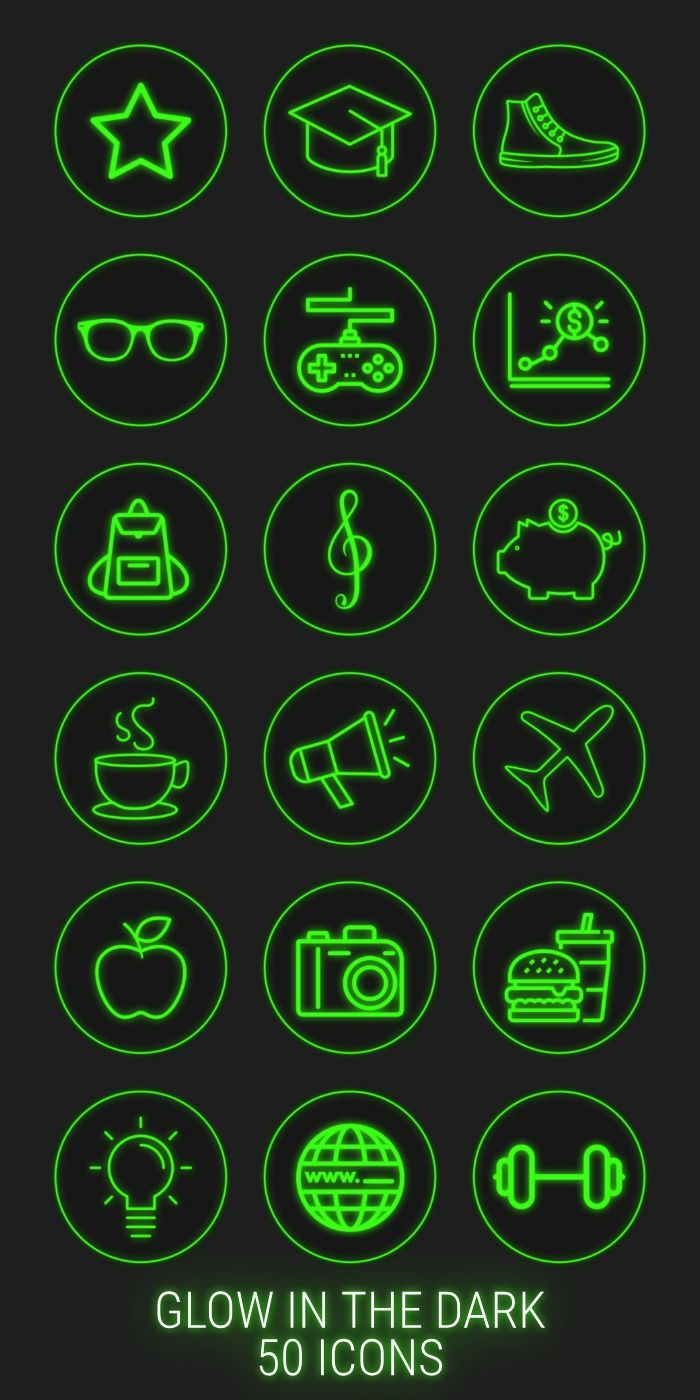 50 Neon Highlight Icons Green Neon Instagram Story