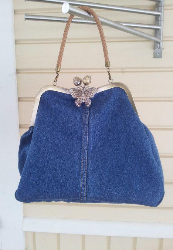 Blue Denim handbag, denim satchel, medium size frame purse made of recycled jeans