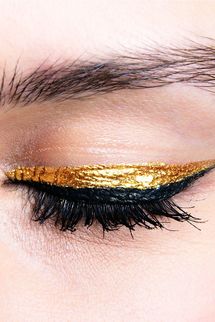 Foiled gold eyeliner, pretty makeup
