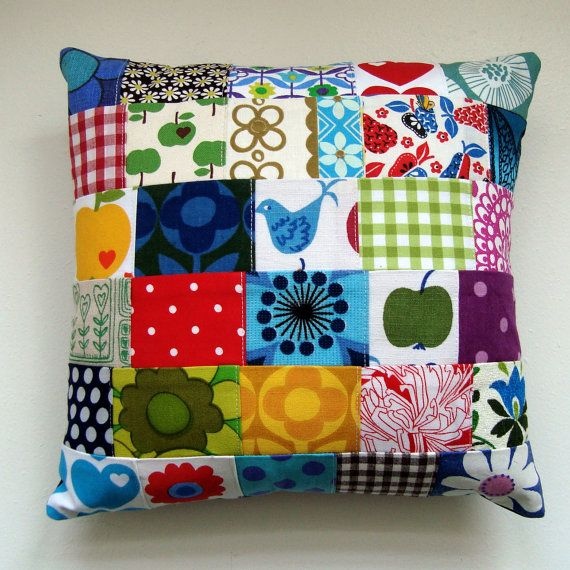 Scandinavian Style Retro Mod Floral Patchwork Pillow / Cushion Cover Small Accent Pillow