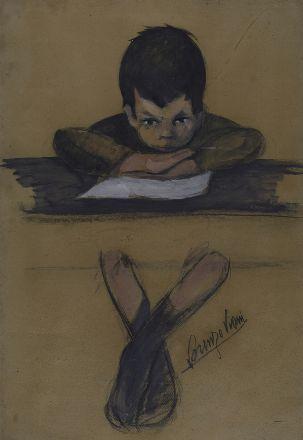 LORENZO VIANI  (VIAREGGIO, 1882 - OSTIA, 1936), Bimbo che legge, (1920)