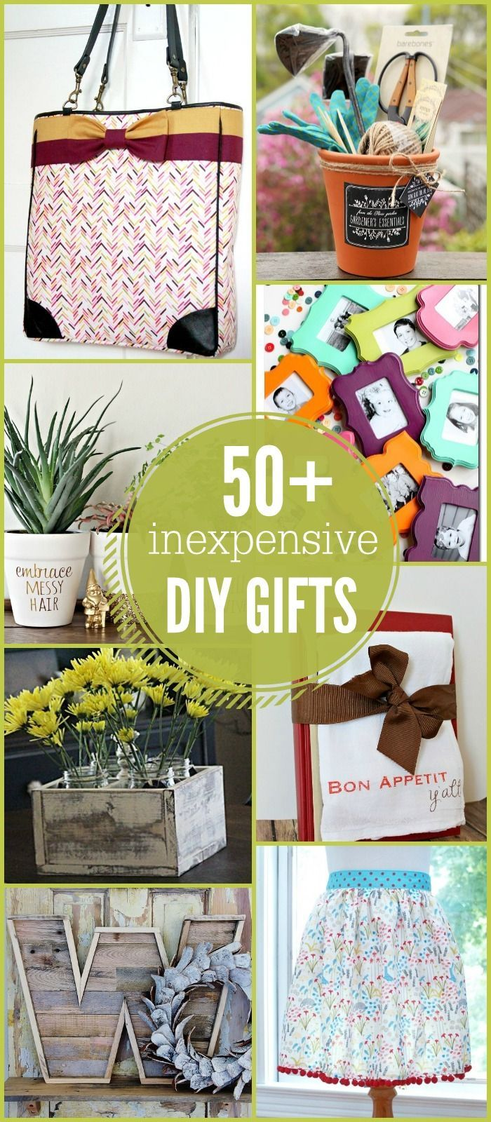 50+ Inexpensive DIY Gift Ideas - so many great ideas to use for birthdays, holidays, or just for fun