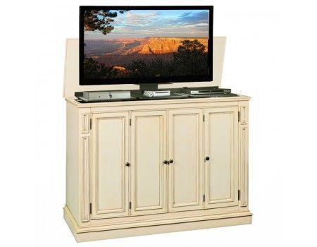 harbor weathered white tv lift cabinet