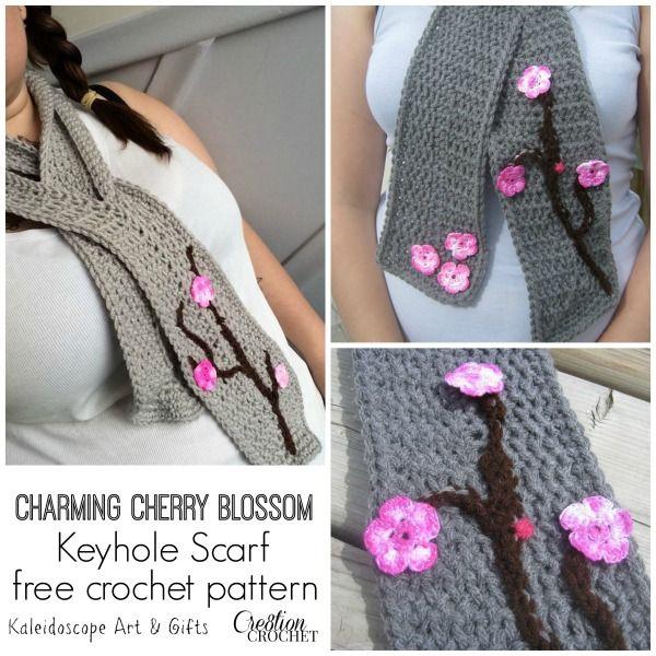 FREE crochet pattern- Charming Cherry Blossom Keyhole Scarf- designed by Kaleidoscope Art & Gifts exclusively for Cre8tion Crochet