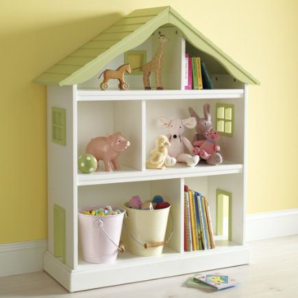 Kids Bookcases: Kids White Dollhouse Shaped Bookcase - Dollhouse Bookcase