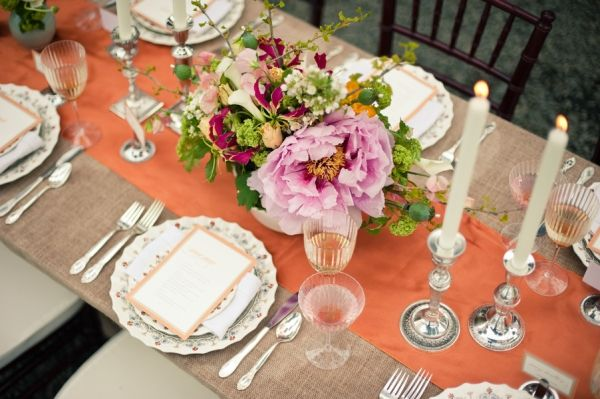 Greenhouse Party 2: Table Decor, Coral Table, Place Settings, Table Setting, Burlap Tablecloth, Portland Oregon