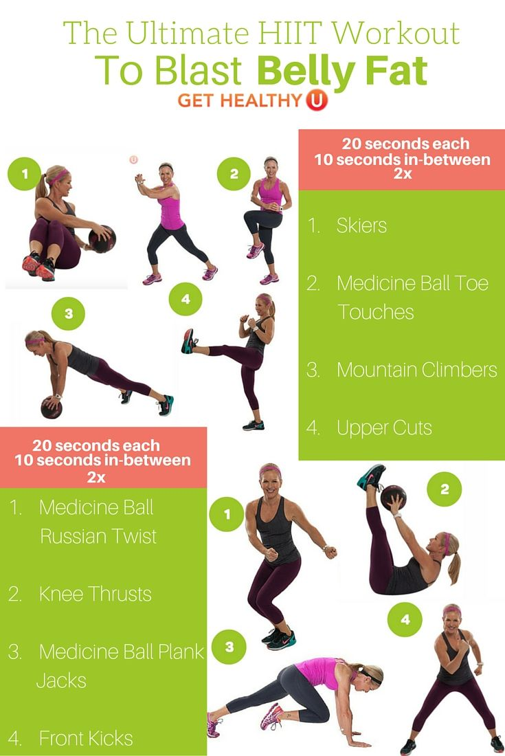 This is the Ultimate HIIT Workout To Blast Belly Fat. For each exercise you will go hard for 20 seconds, then rest for 10 seconds before going to the next move. Repeat the entire sequence again for a total of 8 intervals.