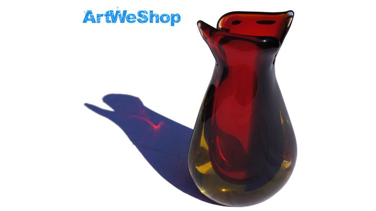 Flower Vase, Italian Glass Red and Yellow Vase, Sommerso Glass Vase, Handmade Venetian Glass Vase, Art Glass Vase Made in Murano, Italy by ArtWeShop on Etsy