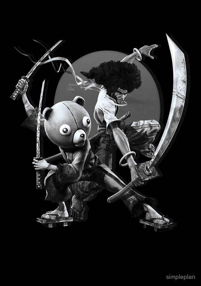 #afroman #afro #samurai #kuma #anime #manga #clothes  prints and shirt