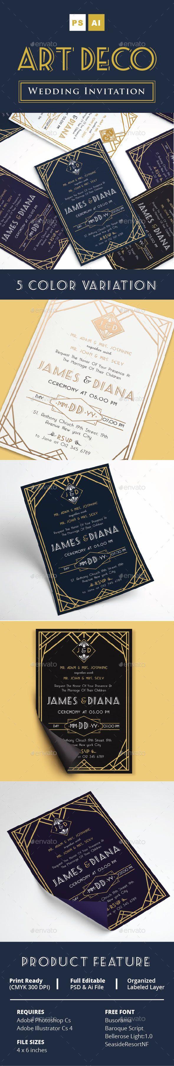 marriage invitation sms on mobile%0A Art Deco Wedding Invitation Vol