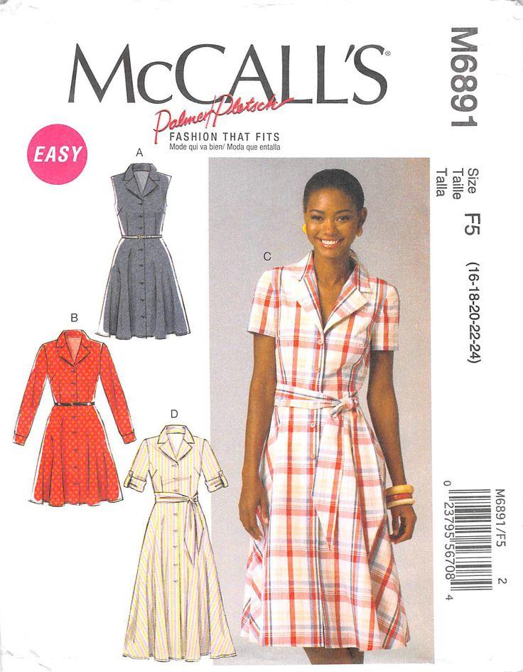 MCCALLS 6891 - FROM 2014 - UNCUT - MISSES DRESS & SASH