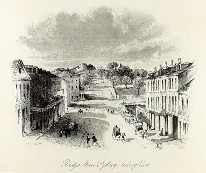 FREDERICK CHARLES TERRY (1825-1869)  Vintage Lithograph Title: Bridge Street Sydney Looking East Size: 26cm x 33cm Frame Size: 50cm x 58cm Signature Details: Titled Lower Centre, This Lithograph is a Later Facsimilie of the Original that was Published in 1853 Artwork is Housed in a Glazed Timber Frame