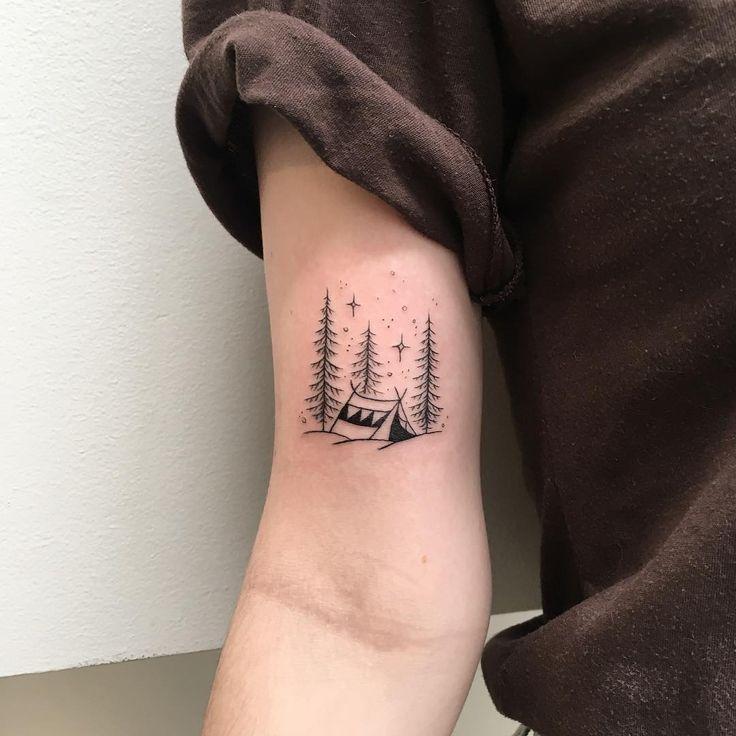 1,451 vind-ik-leuks, 10 reacties - Peta-Jane Heffernan (@peta.heffernan) op Instagram: 'Little tent for Olivia ⛺️ #tattoo #tent #pines #tattooist #blackworkers #tattoodesign #iblackwork…'