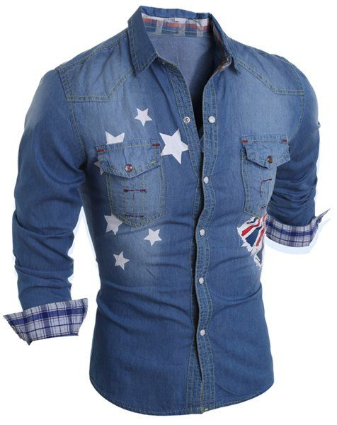 Turn-Down Collar Flag and Stars Print Long Sleeve Stripe Splicing Denim Shirt For Men from 26.22$ by SAMMYDRESS