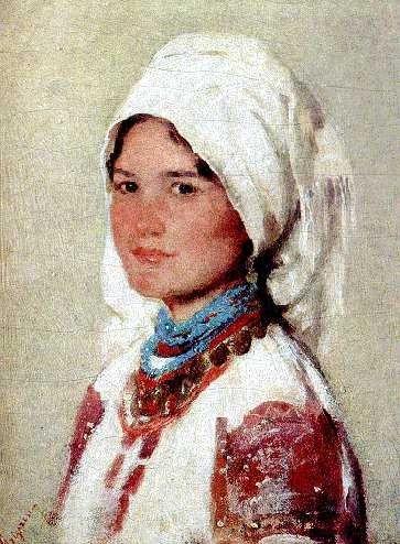 Romanian painter Nicolae Grigorescu - Taranca din Muscel