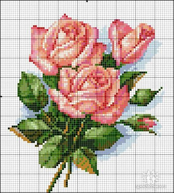 Rose cross stitch pattern, going to use this for cake decorating inspiration