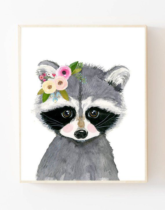 Baby raccoon print , Woodland Nursery Art, Animal Paintings, Animal Wall Art, Childrens Wall Decor, Kids Art Print, Racoon artwoodland