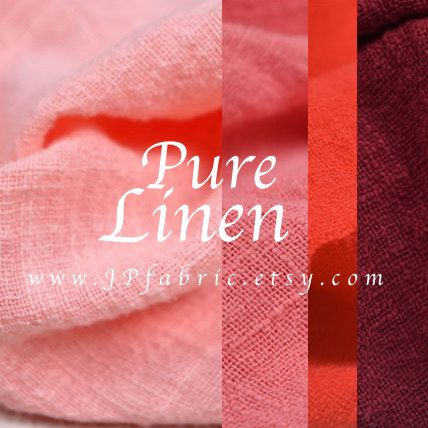 135cm wide. Solid red linen. Pink linen fabric. by JPfabric